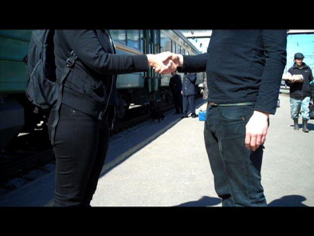 'Handshake' (Still) by Danae Valenza, 2011, Balezino Station, Russia