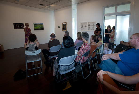 The crowd at the Artist's Talk (Gail Robinson at the front)